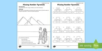 Missing Number Pyramids Activity Sheet - maths pyramids, missing number pyramids, problem solving, pyramids, worksheet, find the missing numb
