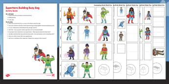 Superhero Building Activity Busy Bag and Resource Pack For Parents - Blocks, superhero, matching