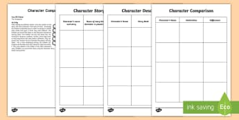 Character Comparisons Activity - describe, characters, different, likes, dislikes, literacy, favourite, plot, story, stories