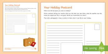 Your Holiday Postcard Activity Sheet - Tourism, impacts, positive, negative, travel, back to school, year 7, september