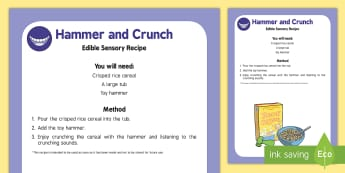 Hammer and Crunch Edible Sensory Recipe - The Elves and the Shoemaker, traditional tales, Christmas, rice crispies, cereal, babies, baby, sens