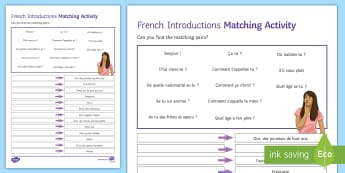Introductions Higher Ability Matching Differentiated Activity Sheet - French - French, Introductions, se présenter, présentation, self, oneself, moi, détails personnels, match,