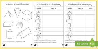 La vânătoare de corpuri 3D - figuri geometrice, corpuri geomerice, corpuri 3D, matematică, fișe, geometrie, forme tridimensiona