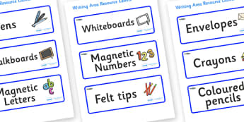 Shark Themed Editable Writing Area Resource Labels - Themed writing resource labels, literacy area labels, writing area resources, Label template, Resource Label, Name Labels, Editable Labels, Drawer Labels, KS1 Labels, Foundation Labels, Foundation