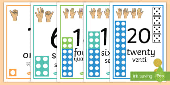 Visual Number Line Posters 0-20 English/Italian - Visual Numberline Posters 0 20 - count, counting, counting aid, number line display, numberline disp