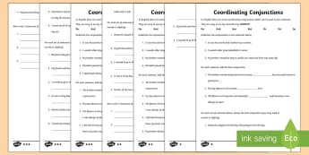Coordinating Conjunctions FANBOYS Differentiated Activity Sheets - Literacy, FANBOYS, conjunctions, coordinating conjunctions, for, and, nor, but, or, yet, so, writing