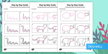 Step-By-Step Drawing Jungle Animals Activity Sheets - Ronald the Rhino, children's book, rhyme, story, endangered, animal, critically, extinct, step by s