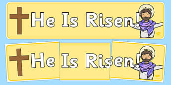 He is Risen Easter Display Banner - easter, christianity, banner