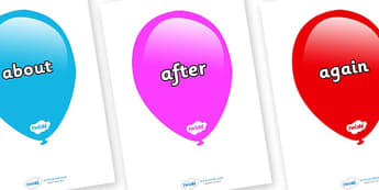 KS1 Keywords on Balloons (Multicolour) - KS1, CLL, Communication language and literacy, Display, Key words, high frequency words, foundation stage literacy, DfES Letters and Sounds, Letters and Sounds, spelling