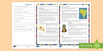 All About the Incas Differentiated Reading Comprehension Activity - Inca, Incas, The Inca, The Inca Civilization, The Inca Empire, Civilizations of the Americas