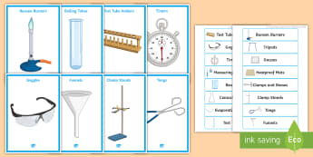 Science Equipment List for Cupboards and Drawers Display Pack - Equipment, list, cupboards, drawers, bunsen Burner, heatproof Mat, images