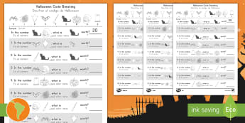 Halloween Place Value Codebreaking Activity Pack US English/Spanish (Latin) -  halloween, code break, place value, hundreds, tens, units, ones, digit, digits, spanish, eal, espa