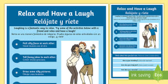 Mindful Me: Relax and Have a Laugh Activity English/Spanish - Mindfulness, relax, relaxtion techniques, coping techniques, coping strategies, stress management, E