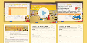 Fair Games Probability Lesson Pack - Combined, Sample, Trials, Experimental, Chance, Winnings, Prize