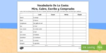 Seaside Topic Look, Cover, Write and Check Activity Sheet - Spanish - Seaside, Coast, Summer, Holidays, Beach, Sea, Topic, look, cover, write, check, activity, sheet, spe