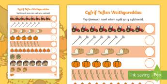 Taflen Weithgaredd Cyfrif Yr Hydref - cyfrif, mathemateg, rhif, Cymraeg, Hydref, counting, number, autumn, Welsh, thema, theme,activity, g