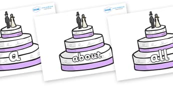 100 High Frequency Words on Wedding Cakes - High frequency words, hfw, DfES Letters and Sounds, Letters and Sounds, display words