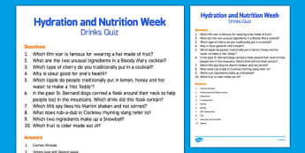Elderly Care Hydration and Nutrition Week Drinks Quiz - Elderly, Reminiscence, Care Homes, Hydration and Nutrition Week