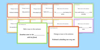 Nouns Challenge Cards - roi, irish, gaeilge, english, sentence level, nouns, reading, game