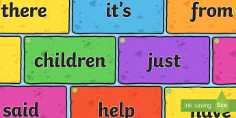 Middle East Phase 4 and Phase 5 High Frequency Words on Multicoloured Bricks Resource Pack - display, reading, writing, phonics, uAE