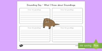 Groundhog Day What I Know About Groundhogs Activity Sheet - Groundhog Day worksheet, animal, US, USA,