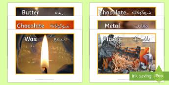 Melting Materials Display Photos Arabic/English - ACSSU046, liquid, heating, melting moments, solid to liquid,EAL Arabic,Australia-translation