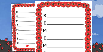 Remember Remembrance Day Acrostic Poem Template - Remember Remembrance Day Acrostic Poem Template, Remember Remembrance Day, Acrostic, acrostic poem, poem, rhyme, poems, template, templates, creative, creativity, activity, writing, 11th November, Sea