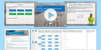 KS3 Half Term 1: Number, Lesson Pack 18: Column Addition and Subtraction for Decimals - Adding, Subtracting, Operations, Plus, Minus