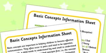Basic Concepts Information Sheet - concept, SEN, visual aid