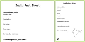 India Fact Sheet Writing Template - india, india fact sheet, india fact file, india worksheet, facts about india, india facts, indian culture, ks2 geography