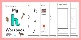 My Workbook h lowercase - workbook, h sound, lowercase, letters, alphabet, activity, handwriting, writing
