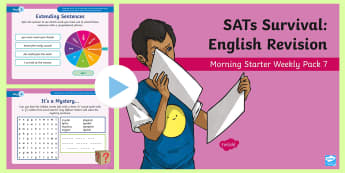 SATs Survival: Year 6 English Revision Morning Starter Weekly PowerPoint Pack 7 - SATs Survival Materials Year 6, SATs, assessment, 2017, English, SPaG, GPS, grammar, punctuation, sp
