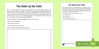 The Balls of the Falls Read and Draw Activity Sheet - World Around Us KS2 - Northern Ireland, sculpture, art, Belfast, designer, local, thinking skills, c