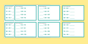 Add Two Two-Digit Numbers Mixed KS1 Maths Challenge Cards - math