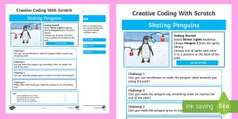 Skating Penguins Scratch Activity Sheet - worksheet, computing, programming, coding, algorithms, instructions, commands, Scratch