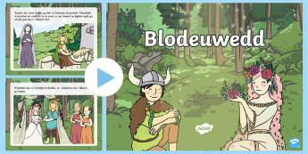 Pŵerbwynt Blodeuwedd Pŵerbwynt - blodeuwedd, chwedl, folk tale, tywysoges, princess,Welsh