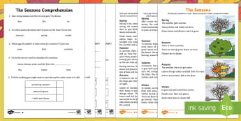 Little Acorns: The Seasons Differentiated Reading Comprehension Activity - twinkl originals, fiction, KS1, Year 1, Year 2, Reading, science, oak tree, autumn, winter, spring,