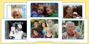 mi familia Display Photos Spanish - spanish, my family, display photos, display, photos, photographs