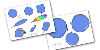 Story Cut Outs to Support Teaching on The Blue Balloon - blue balloon, story, the blue balloon, Mick Inkpen, sequencing, cut out, cut outs, cutting, story resources, story book, flying balloon, soggy balloon, up, story book, story resources