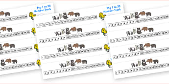 Bears Number Track (1-20) - Maths, Math, Bears, bear, number track, numbertrack, Counting, Numberline, Number line, Counting on, Counting back, animals, polar bear, koala bear, brown bear, grizzly bear, sloth bear,  bear resources