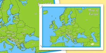 Map of Europe Poster - map, europe, poster, display, continent