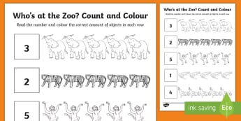 Who's at the Zoo? Count and Colour Activity Sheet - exploring my world, aistear, story, zoo, animals, tiger, elephant, crocodile, giraffe, penguin, Nume