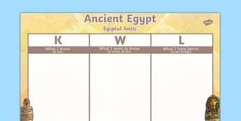Ancient Egypt Topic KWL Grid Romanian Translation - romanian, ancient egypt, topic, kwl, grid