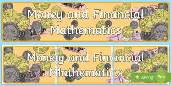 Money and Financial Mathematics Display Banner - Australian Curriculum Mathematics Display Banners, number, algebra, number and algebra, money, coins