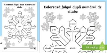 Colorează fulgul după numărul de silabe Fișă de lucru - Winter, iarnă, fulg, despărțirea cuvintelor în silabe, despărțire, silabe, litere, cuvinte, ro