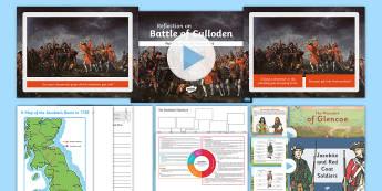 CfE Second Level Jacobites IDL Resource Pack - Scottish history, battle of Culloden, Jacobite rebellion,redcoats, massacre at Glencoe