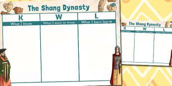 The Shang Dynasty Topic KWL Grid - shang dynasty, kwl, grid