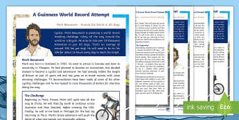 Mark Beaumont Differentiated Fact File - Mark Beaumont, Around The World In 80 Days, Cycling, Challenge, World Record, Australian Curriculum,