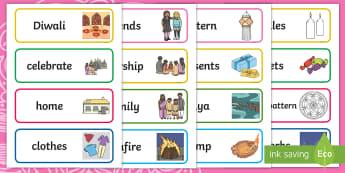 Diwali Word Cards - Australia, festival of lights, religion, Hindu, Vocabulary, language, key, Yr 1, Yr 2, Foundation