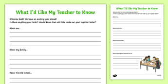 Back to School - What I Would Like My Teacher to Know Activity Sheet-Scottish, worksheet